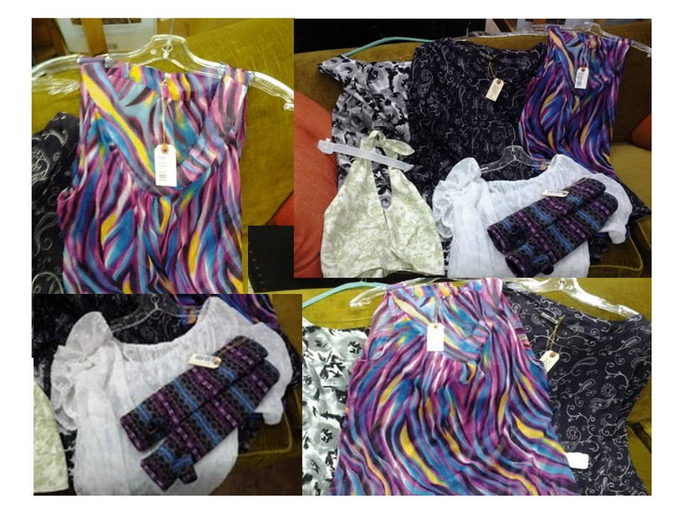 Four images combined together to create a collage. Collage is made up of brightly coloured clothing made by Superior Sewing, a local sewing and alterations store. Upper left corner, multi-coloured sleeveless blouse. Upper right corner, all items of clothing in other images together, includes arm warmers, and three blouses. Lower left corner, a white sheer blouse with patterned arm warmers. Lower right corner, three coloured blouses.