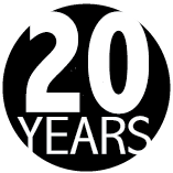"""During the writing of this story, COIN was celebrating 20 years in the Peterborough Community. Pictured is """"20 YEARS"""" in white over a black circle."""