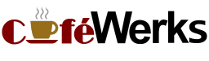 CafeWerks logo, the 'a' in Café (written in red, whereas Werks is in black) is replaced by a small picture of a steaming cup of coffee