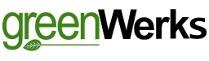 Le logo de GreenWerks, « green » est imprimé en vert et souligné par une feuille à longue tige.