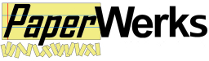 """PaperWerks logo, written in black letters with the word """"paper"""" on a backdrop of yellow lined paper and underlined by small strips of cut yellow paper"""