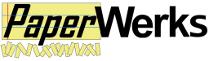 Le logo de PaperWerks, en lettres noires, « Paper » écrit sur un fond style feuille de papier lignée jaune, souligné par des petites bandes de papier jaune découpées.