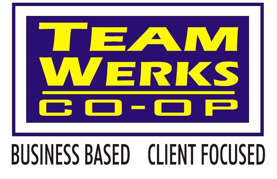 Le logo de Team Werks Co-op. Titre d'appel : Business Based, client focused.