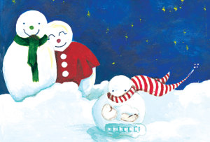 Two adult snowpeople smile and watch a snowchild play in the snow. The image is one of the offered holiday cards.