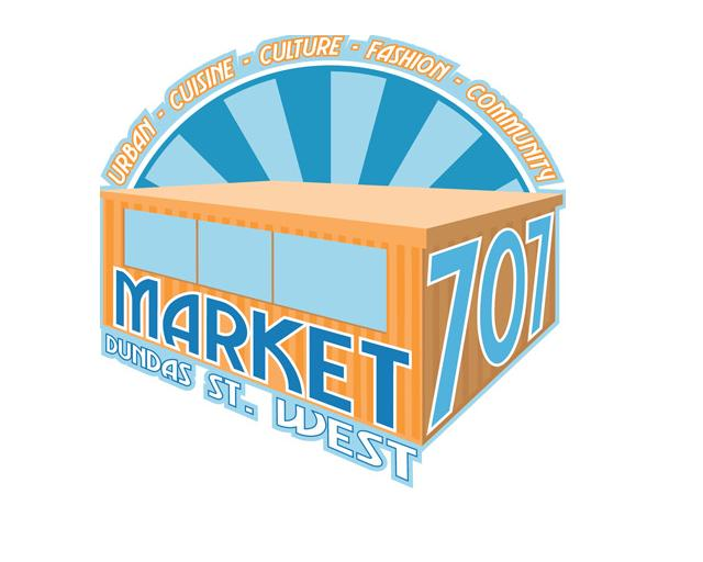 Market 707 logo. Image of retrofitted shipping container with market 707 on the outside.  Urban, Cuisine, Culture, Fashion, Community.  Dundas St West.