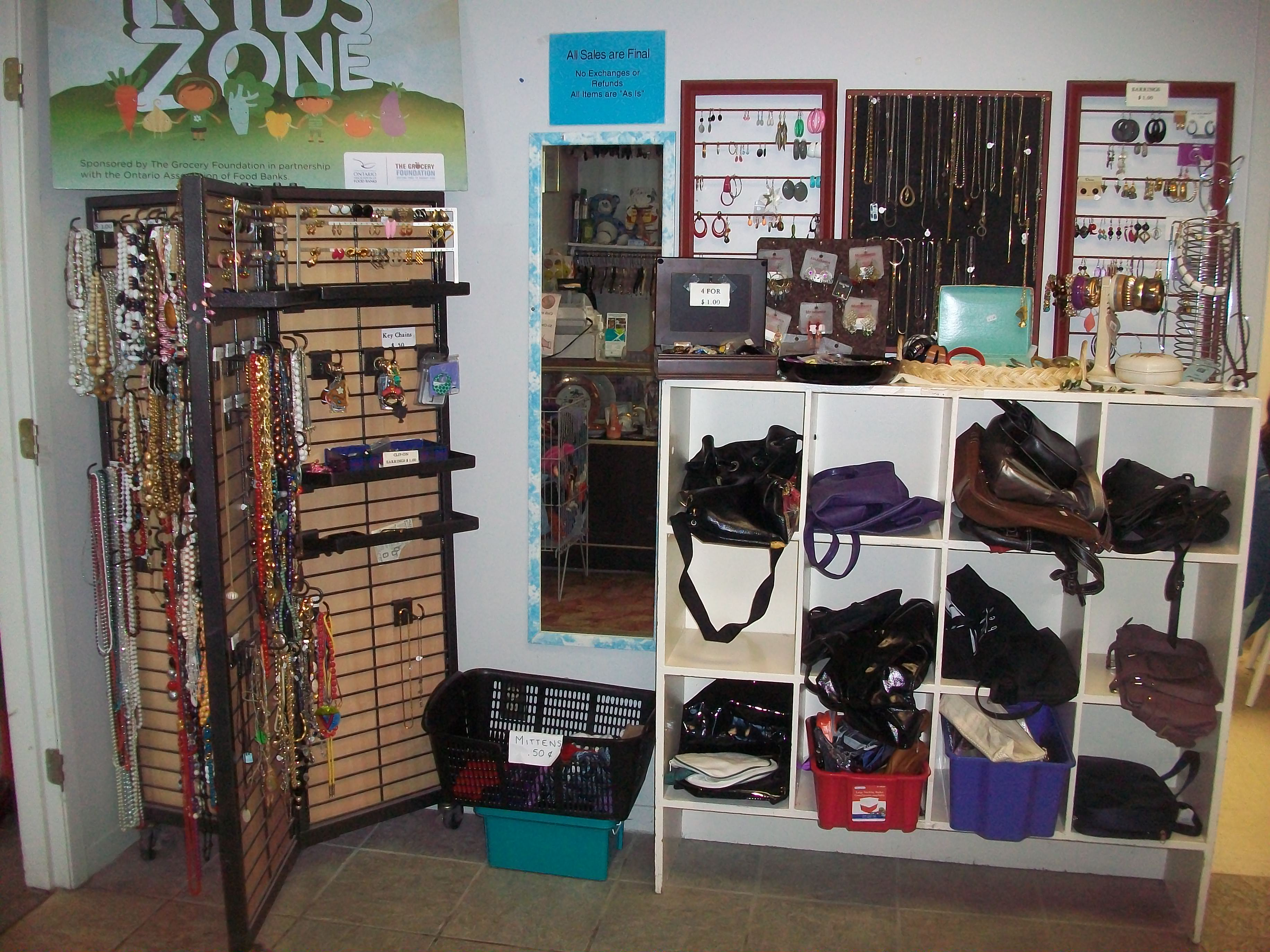 purses, jewelry, and other small collectables available at their thrift store location.