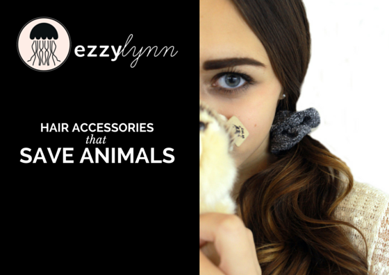 "Ezzy Lynn logo, a silhouette of jellyfish, with the text ""Hair Accessories that Save Animals"". Beside text is a close up of a woman's face as she holds a stuffed animal representation of an endangered animal. There is a scrunchie in her hair."