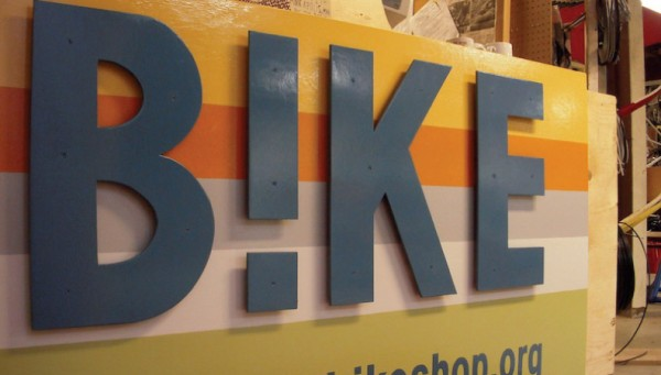 Side view of sign for Bike, with the i replaced with an exclamation mark.
