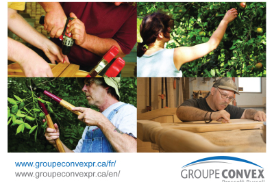 Four images in a grid. Two people working on a carpentry project. One person picking fruit. Another individual working on wood projects. Final image of person trimming trees.