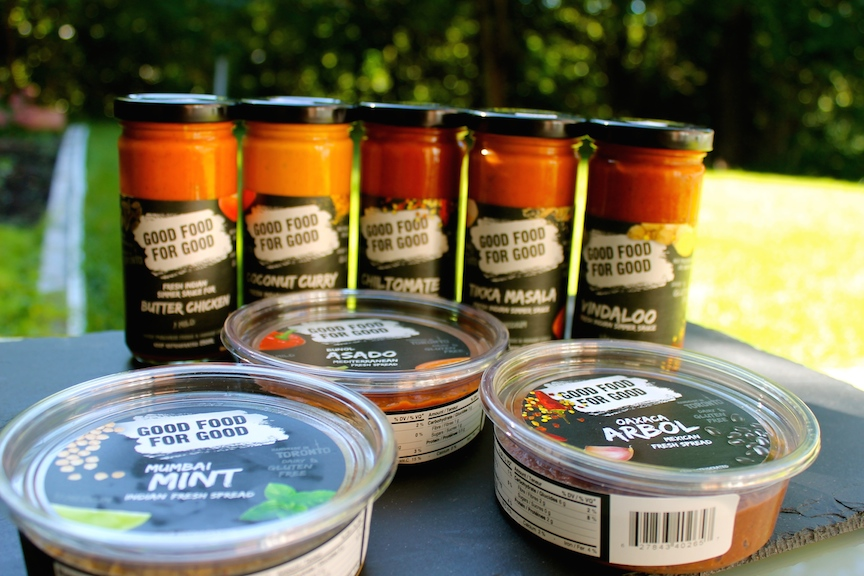 Group of various sauces and pastes for cooking with, all made by GOOD FOOD FOR GOOD