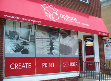 Outside of Options Mississauga Print and OfficeOptions building, with sign and logo in image.