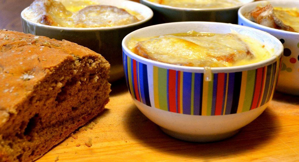 Fresh soup and oven baked bread.