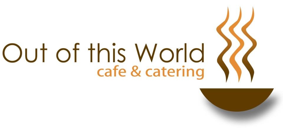 Le logo d'Out of this World. « Out of this World Café & Catering » est écrit à côté d'une image représentant un bol de café fumant stylisé.