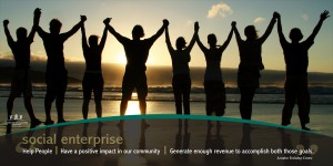 """social enterprise"" poster showing silhouette showing a row of 8 people all holding raised hands as they look over the ocean at a sunrise"