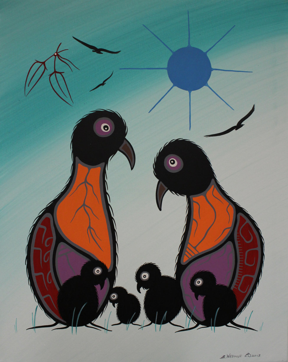 The canvas shows a stylized image of two birds (orange, purple, brown and black),  with their 4 young black chicks beneath a royal blue sun in a faded turquoise sky.