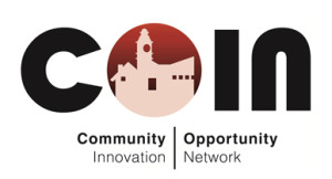 COIN stands for Community Opportunity and Innovation Network. The COIN logo, pictured here, is COIN, with the O being a small cityscape of Peterborough ON.