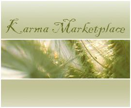 Screenshot of Karma's Marketplace website. Close up of plant with Karma Marketplace written in script font.