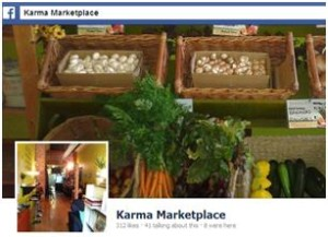 Karma Market Facebook page with profile picture showing different vegetables they provide.