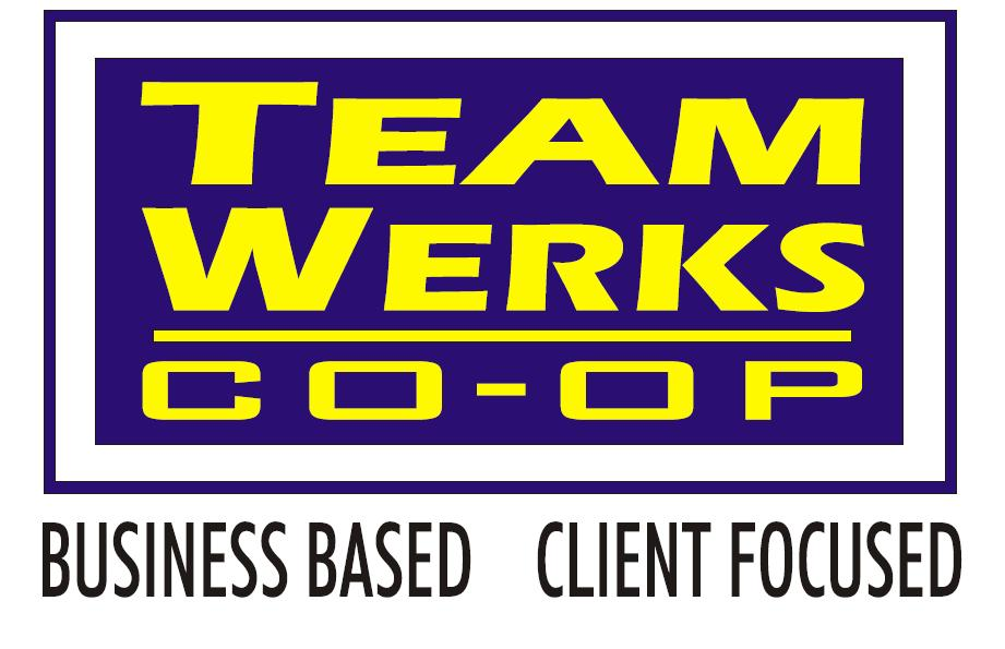 Le logo de Team Werks Co-op. Titre d'appel : Business Based, client focused.
