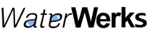 "WaterWerks logo, their name with blue water drops filling the ""a"" and ""e"""