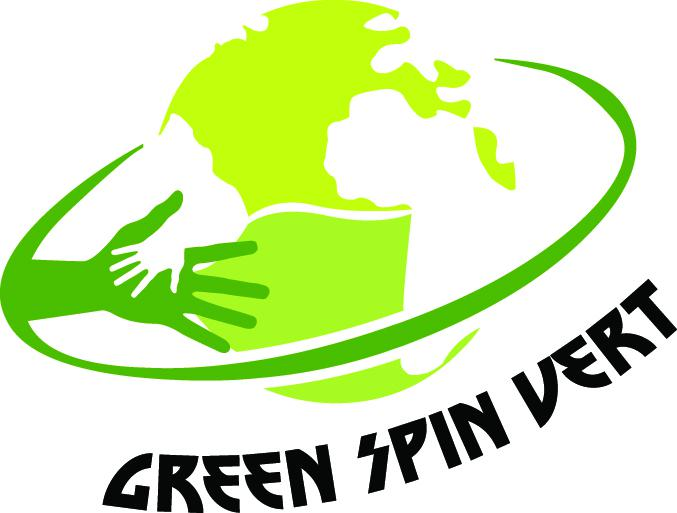 Green spin vert logo, a green globe with different shades of hands reaching out towards each other.